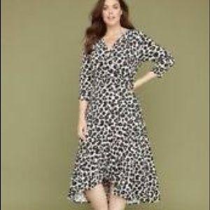 Lane Bryant Ruffle Midi Leopard Dress LIKE NEW
